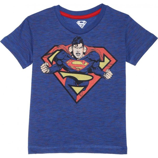 Superman Boy's Graphic Print Cotton Polyester Blend T Shirt  (Blue, Pack of 1)