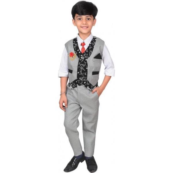 ahhaaaa Boys Casual Shirt, Waistcoat and Pant Set  (Grey Pack of 1)