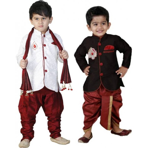 FTC FASHIONS Boys Festive & Party Kurta and Dhoti Pant Set  (White Pack of 2)