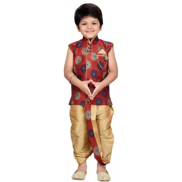 AJ Dezines Boys Festive & Party Angarkha and Dhoti Pant  (Maroon Pack of 1)