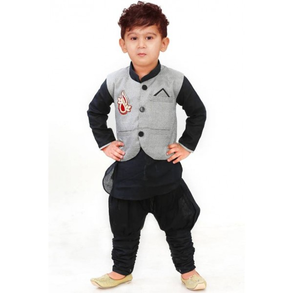 stylokids Boys Casual Kurta, Waistcoat and Pyjama Set  (Multicolor Pack of 1)