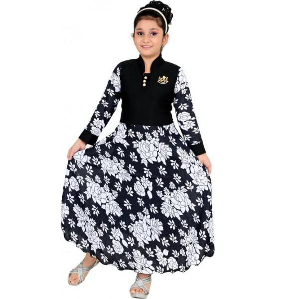 FTC FASHIONS Girls Maxi/Full Length Party Dress  (Black, Full Sleeve)