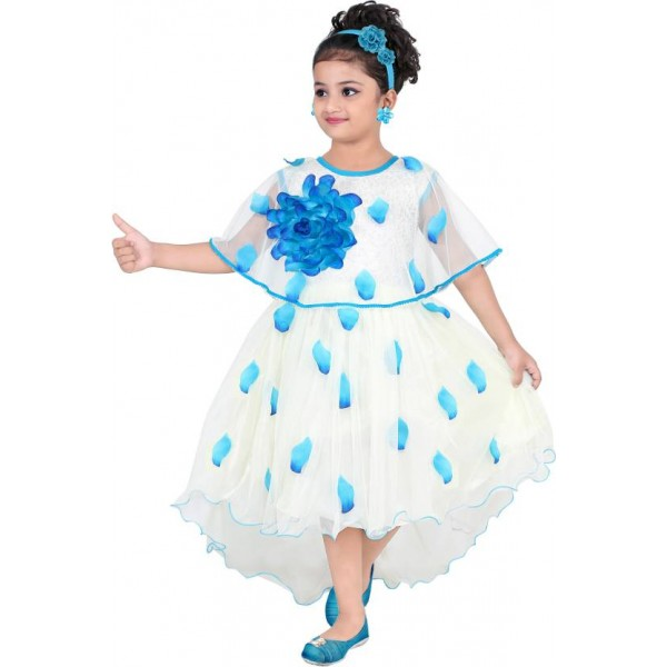 KAARIGARI Girls Midi/Knee Length Party Dress  (White, Fashion Sleeve)