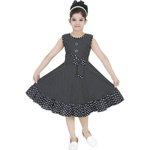 ULTRA TREND Girls Midi/Knee Length Casual Dress  (Black, Sleeveless)