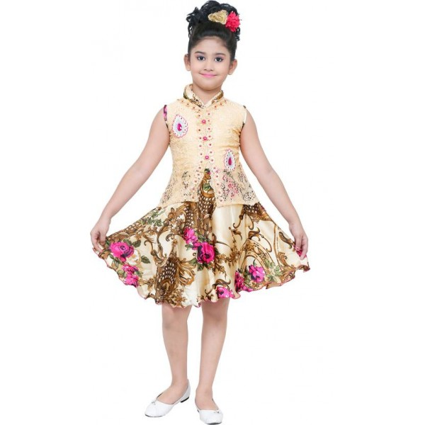 stylokids Girls Midi/Knee Length Party Dress  (Multicolor, Sleeveless)
