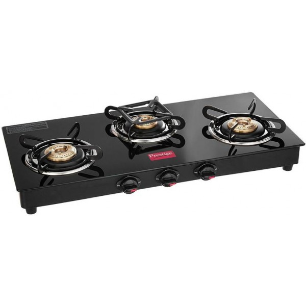 Prestige Marvel Glass, Stainless Steel Manual Gas Stove  (3 Burners)