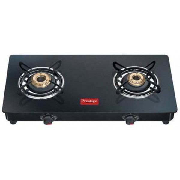 Prestige Marvel Glass Top Gas Table GTM 02 Glass, Stainless Steel Manual Gas Stove  (2 Burners)