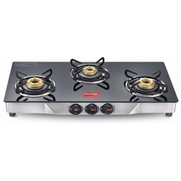 Prestige Deluxe Glass, Stainless Steel Manual Gas Stove  (3 Burners)