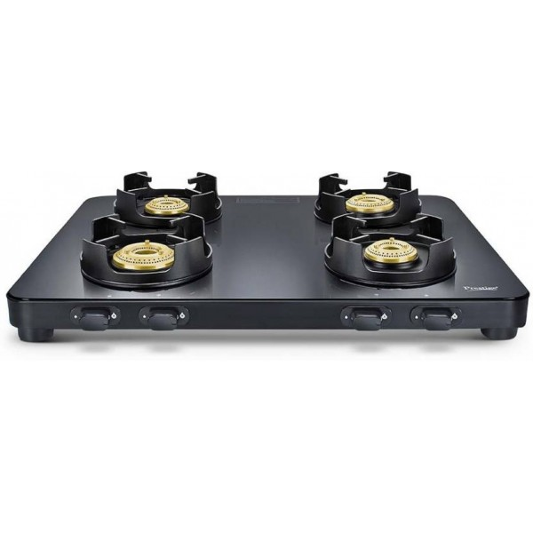 Prestige Edge Black Glass Manual Gas Stove  (4 Burners)
