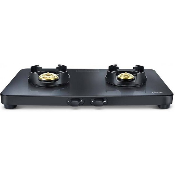 Prestige Edge Black Glass Manual Gas Stove  (2 Burners)