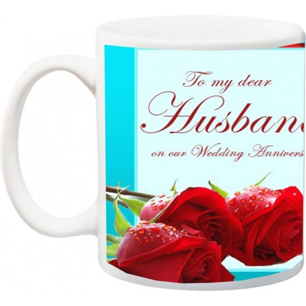 ME&YOU Gift for hubby ,Rose HD Printed Ceramic Mug  (325 ml)