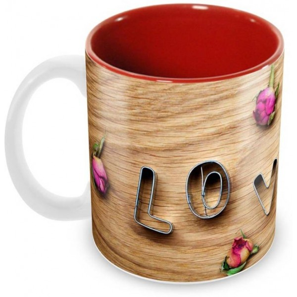 Tuelip IC-BeautifulLove Ceramic Mug  (350 ml)