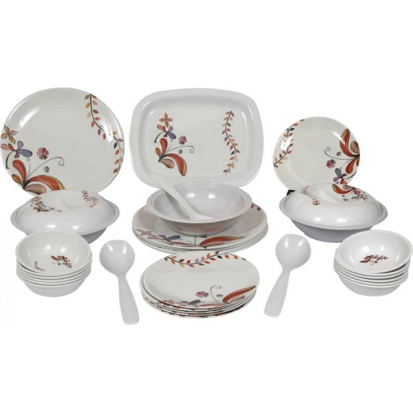 Eagleware Floral Melamine Pack of 32 Dinner Set  (Melamine)