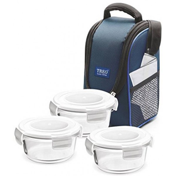 Treo Health First Round Glass Tiffin Box With Cover, 380ml, Transparent Glass 3 Containers Lunch Box  (380 ml)