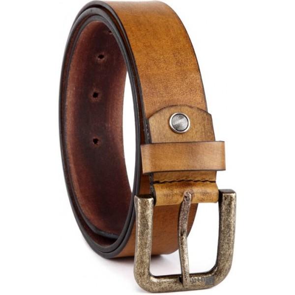 U+N Men Casual Brown Genuine Leather Belt
