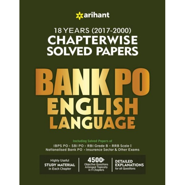 Bank PO English Language Chapterwise Solved Papers  (English, Paperback, Arihant)