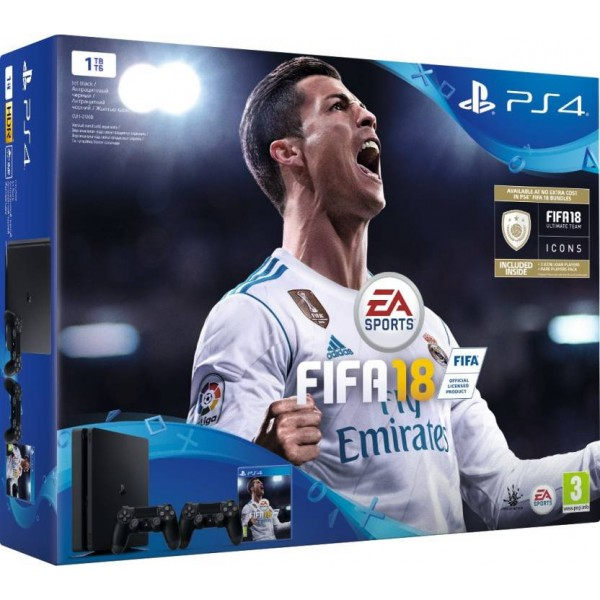 Sony PlayStation 4 (PS4) Slim 1 TB with FIFA 18  (Jet Black, Extra DualShock 4 Controller)