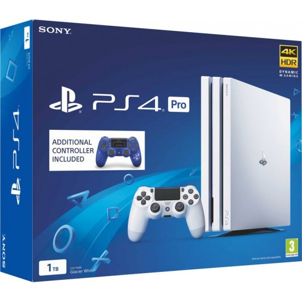 Sony PS4 Pro 1 TB  (White, Extra DualShock 4 F.C Controller)