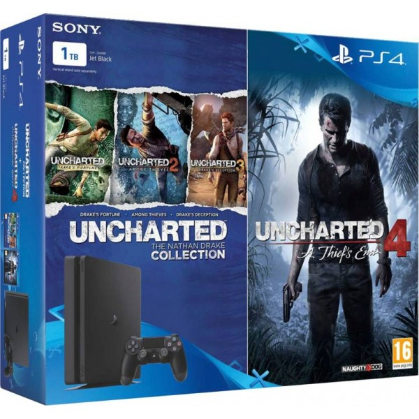 Sony PlayStation 4 (PS4) Slim 1 TB with Uncharted 4 and Uncharted Collection  (Jet Black)