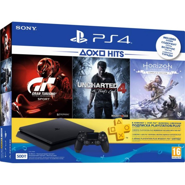 Sony PlayStation 4 (PS4) Slim 500 GB with Uncharted 4, Horizon Zero Dawn (Complete Edition) and Gran Turismo Sport  (Jet Black)