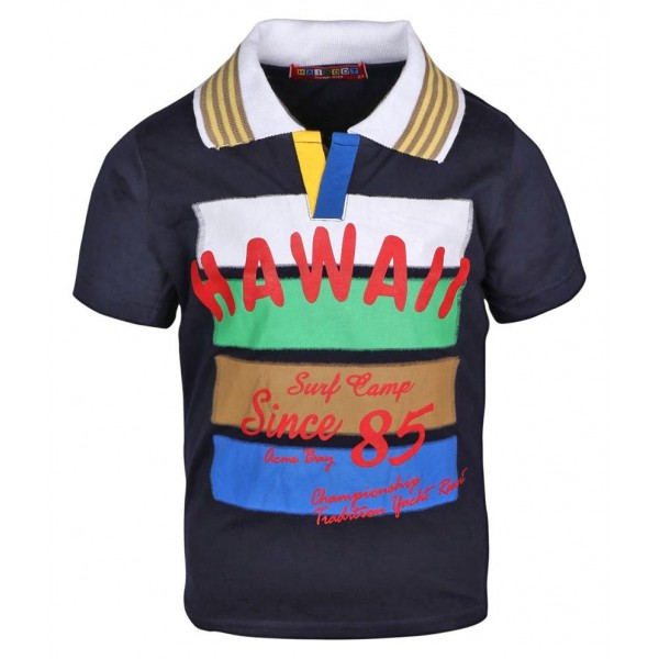 Haig-Dot Navy Cotton PoloTshirt for Boys