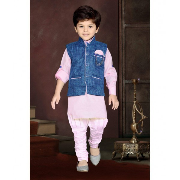 AJ Dezines Pink Kids Kurta, Waistcoat and Breeches Set