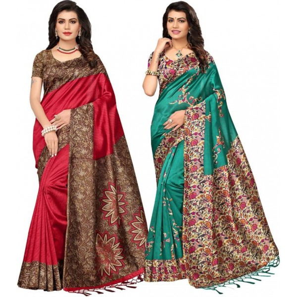 Ishin Printed Bollywood Poly Silk Saree  (Pack of 2, Multicolor)
