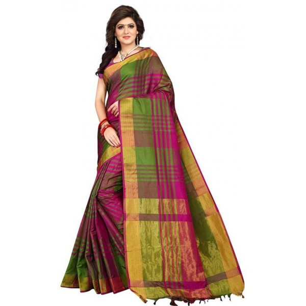 V J Fashion Checkered Fashion Art Silk Saree  (Green, Pink)