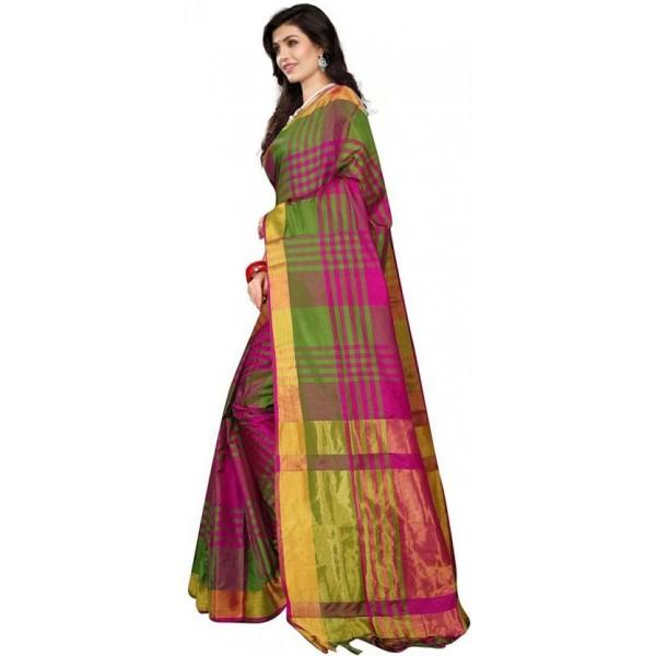 324a666a5 ... V J Fashion Checkered Fashion Art Silk Saree (Green, Pink)