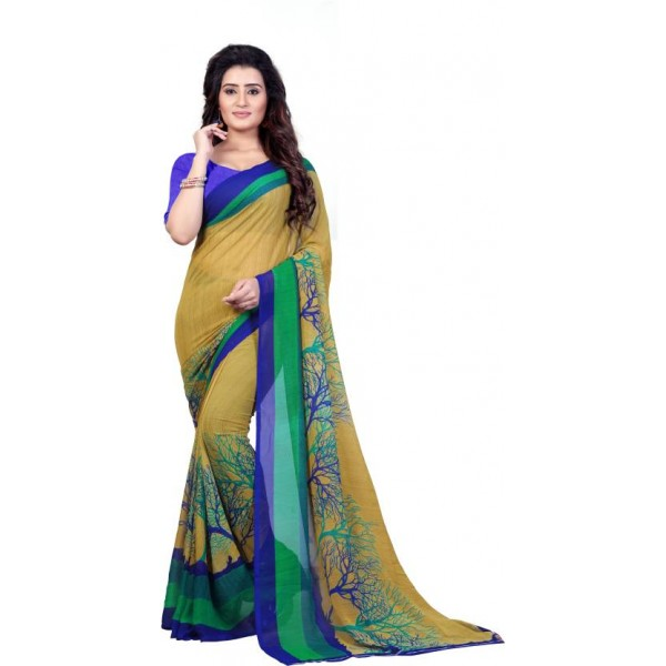Anand Sarees Printed Fashion Faux Georgette Saree  (Green)