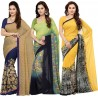 Ishin Printed Bollywood Synthetic Georgette Saree  (Pack of 3, Multicolor)