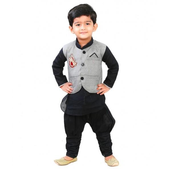 StyloKids Black Kurta Pyjama With Waistcoat