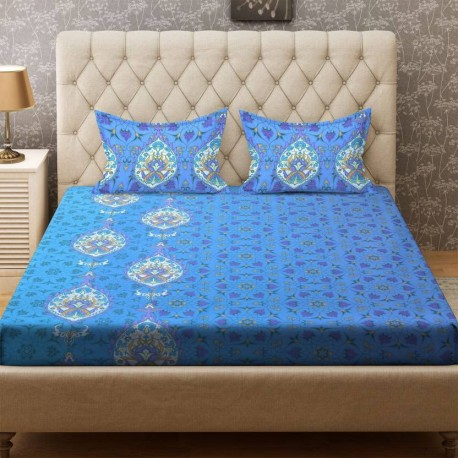 Bombay Dyeing 104 TC Cotton Double Printed Bedsheet  (1 Bedsheet, Blue)