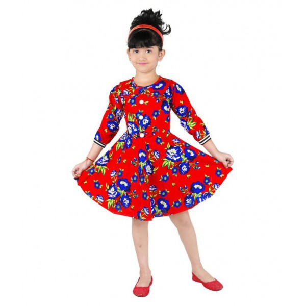 Stylokids Red Cotton Printed Frock for Girls