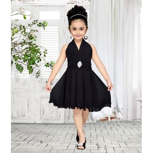 Aarika Black Net Dress