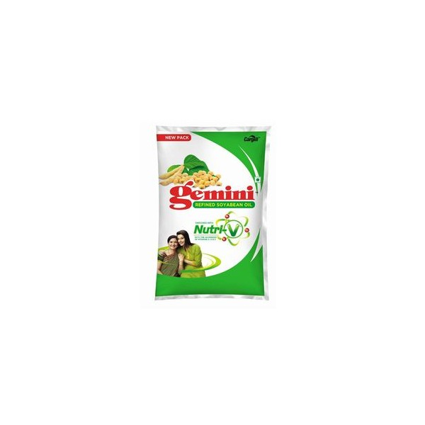 Gemini Refined Oil - Soyabean with Nutri-V, 1 ltr Pouch