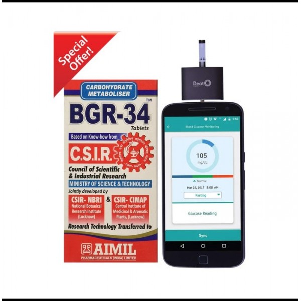 BGR-34 (Pack of 3) with Free BeatO Smart Phone Glucometer + 20 Strips