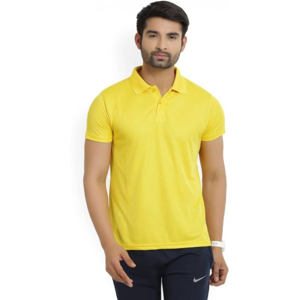 Lotto Solid Men's Polo Neck Yellow T-Shirt