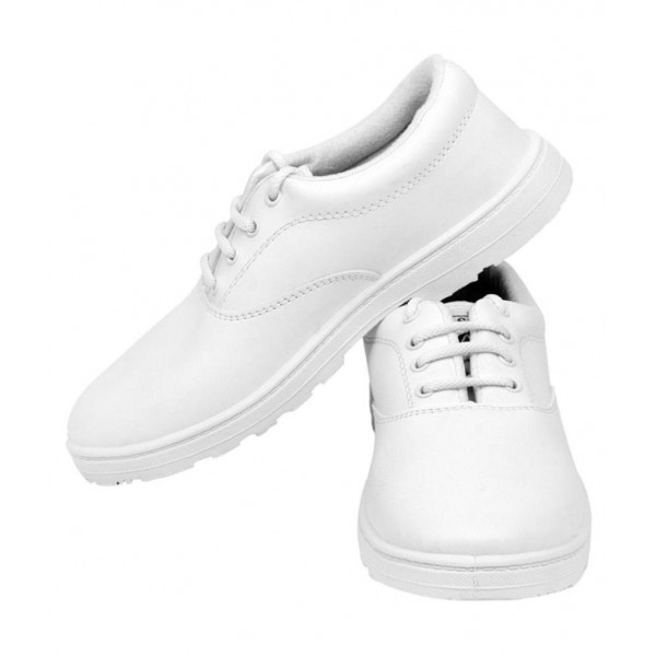 Pollo White Synthetic Leather School Shoes