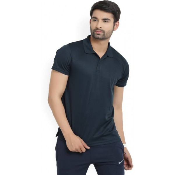 Lotto Solid Men's Polo Neck Dark Blue T-Shirt