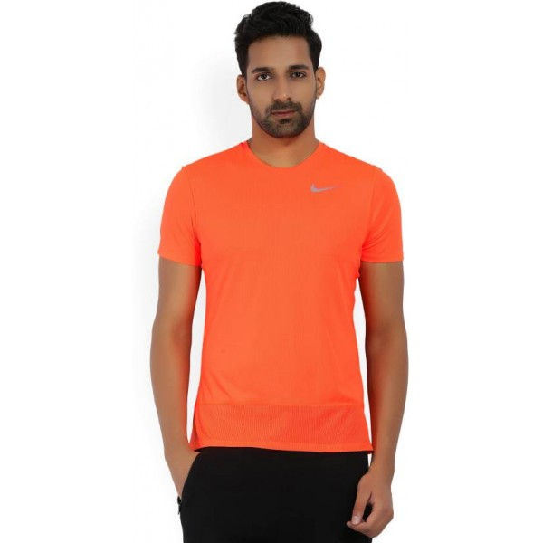 Nike Solid Men's Round Neck Orange T-Shirt