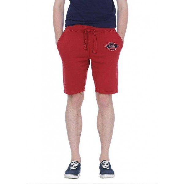 Basics Solid Men's Red Basic Shorts