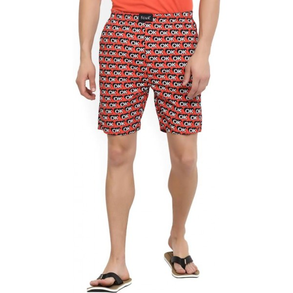 FCUK Printed Men's Orange Bermuda Shorts