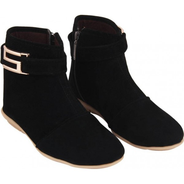 ABJ Fashion S Buckle Women's Stylish Black Boots For Women  (Black)