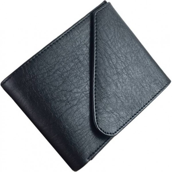 Quetzal Men Black Genuine Leather Wallet  (5 Card Slots)