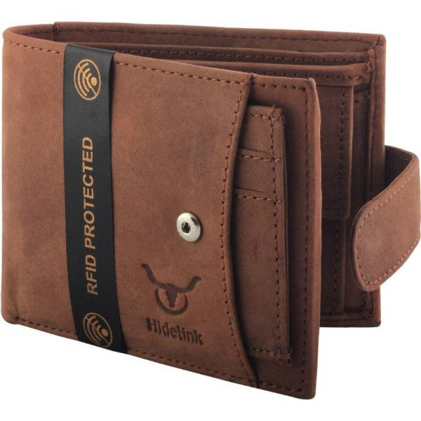 Hidelink Men Brown Genuine Leather Wallet  (6 Card Slots)