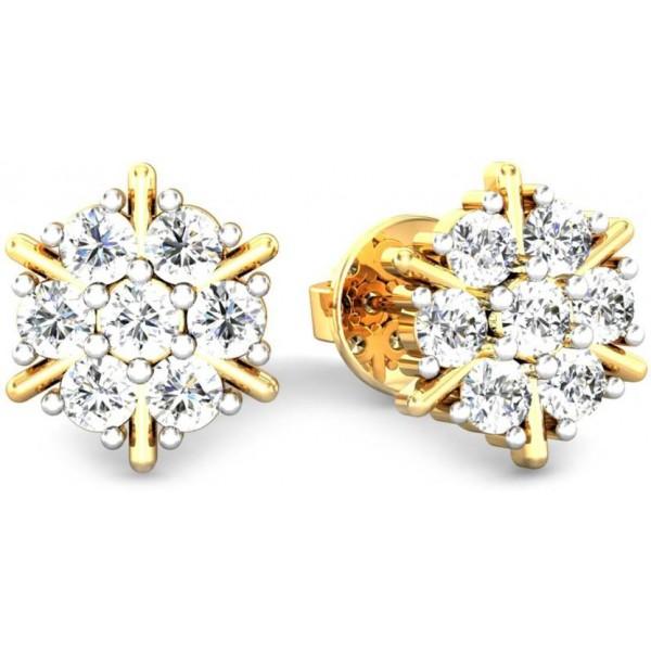 Samaira Gem and Jewelery Nakshatra Yellow Gold 14kt Swarovski Crystal Stud Earring