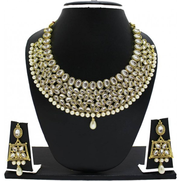 Zaveri Pearls Zinc Jewel Set  (White, Gold)