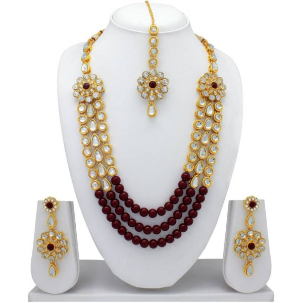 Atasi International Alloy Jewel Set  (Gold, Maroon)