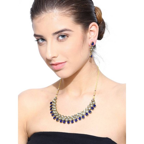 Zaveri Pearls Zinc Jewel Set  (Gold, Blue)